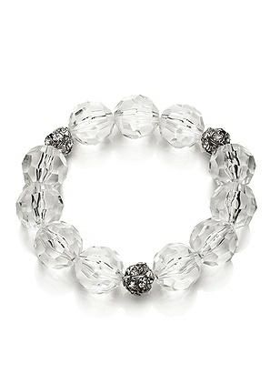 CLOSEOUT - Faceted Clear Resin Bauble Bracelet http://www.dessy.com/accessories/faceted-clear-resin-bracelet/