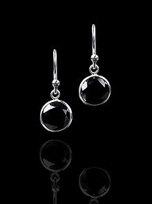 Sterling Silver Solitaire Bezel Drop Earrings