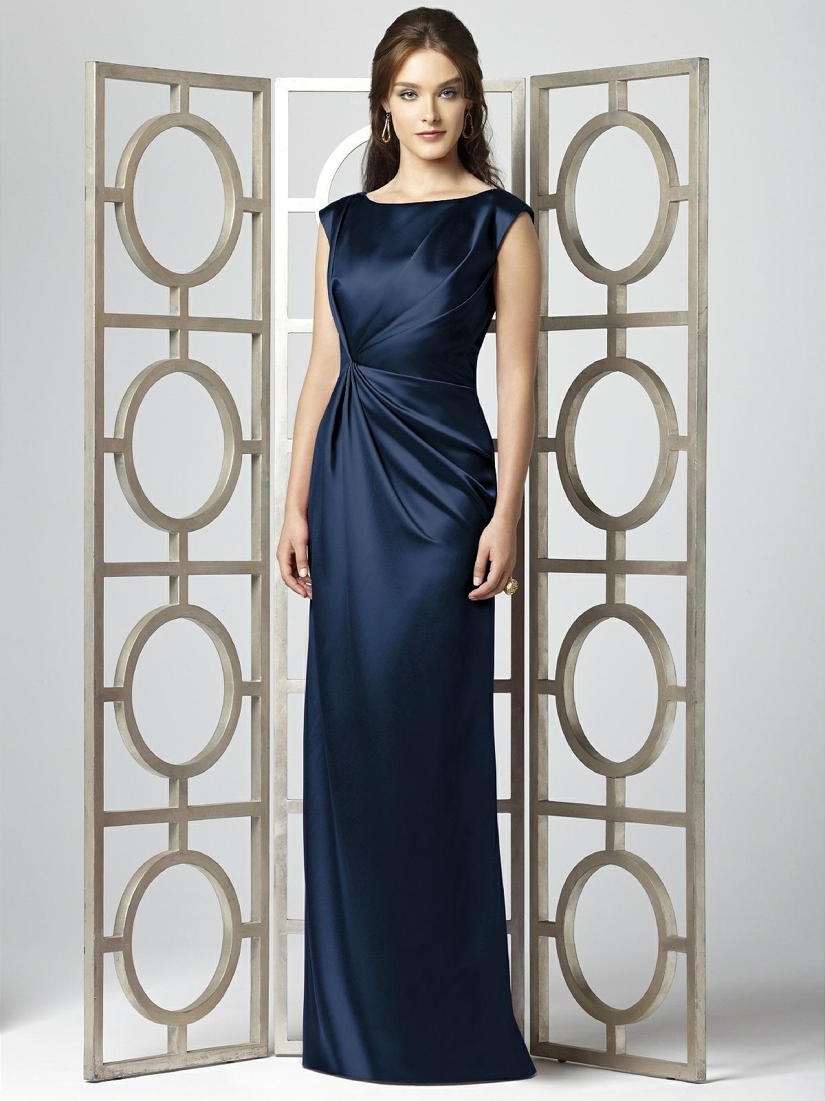 Midnight blue bridesmaid dress in satin