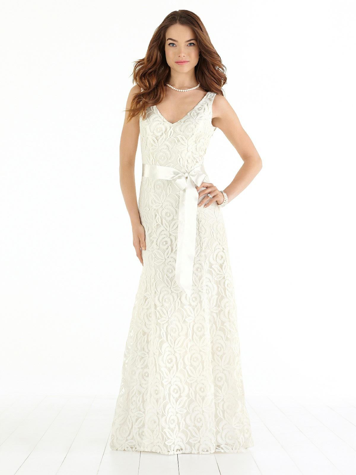 long lace wedding dress with v neckline.