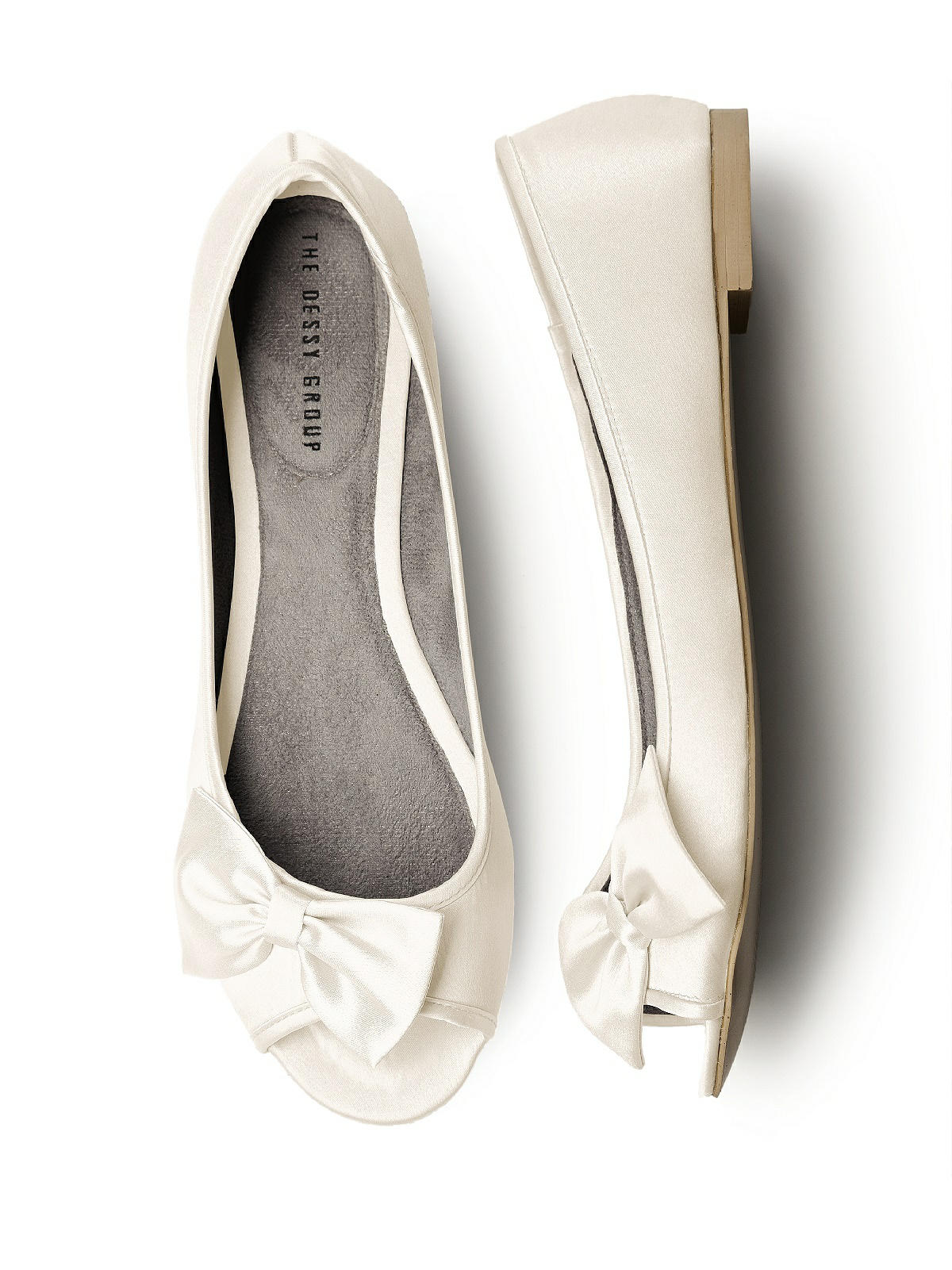 Satin Peep Toe Bridal Ballet Flats The Dessy Group