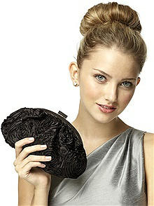 CLOSEOUT - Rosette Fabric Clutch with Jeweled Clasp