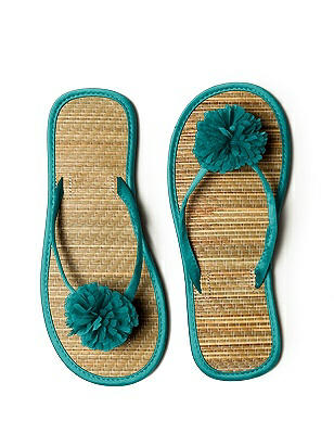 Pom Pom Flower Trimmed Bridesmaid and Bridal Flip Flop http://www.dessy.com/accessories/pom-pom-flower-trimmed-bridesmaid-bridal-flip-flop/