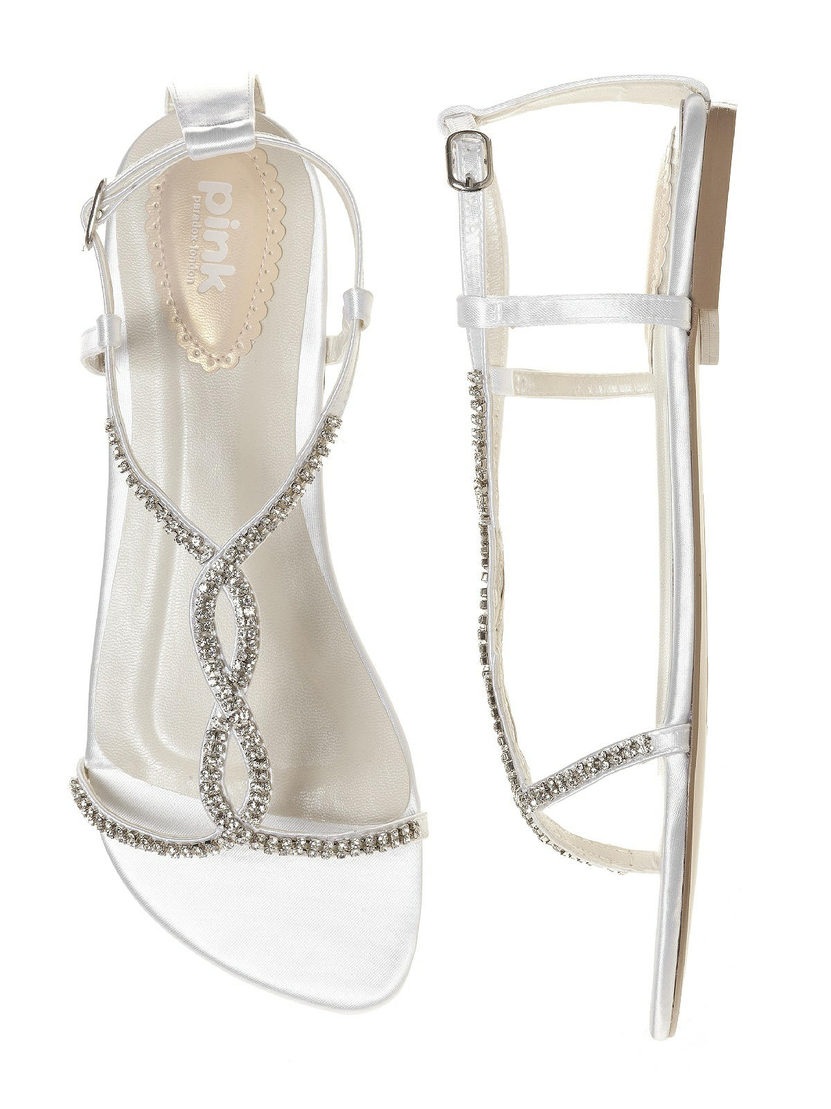 Heaven dyeable crystal bridal sandal the dessy group for Flat dress sandals for weddings