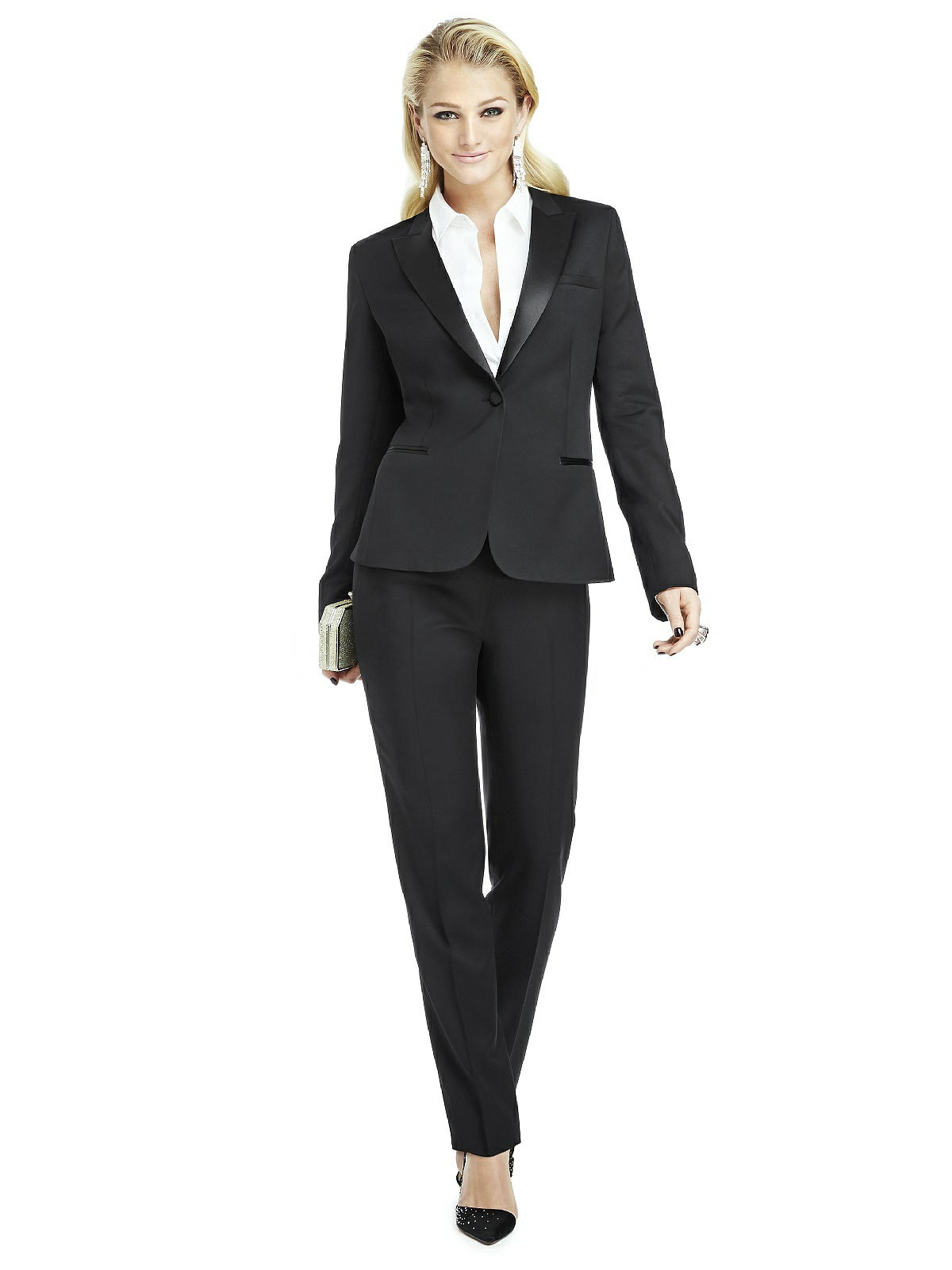 Popular  Women S Clothing Suits Pant Suits Calvin Klein Women S Tuxedo Style 2