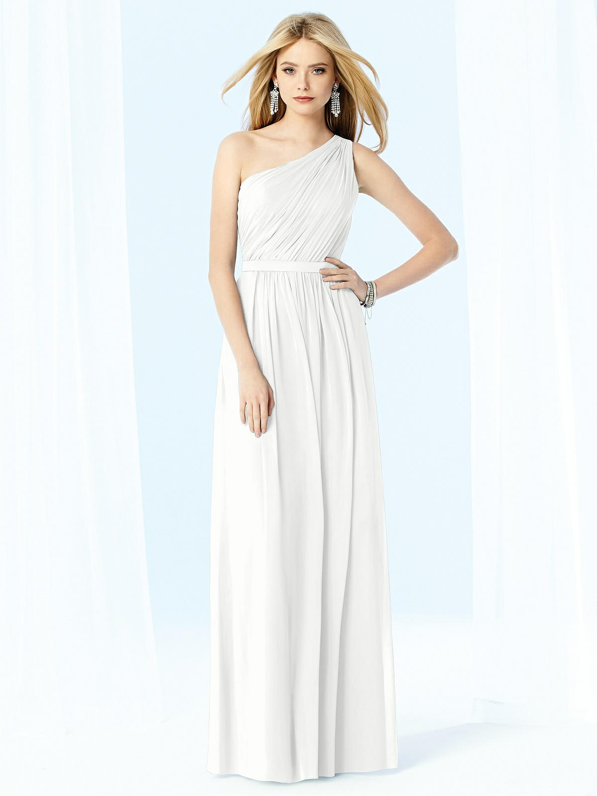 one shoulder white goddess style wedding dress