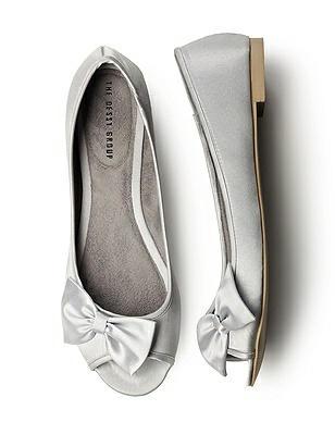 Satin Peep Toe Bridal Ballet Flats http://www.dessy.com/accessories/satin-peep-toe-bridal-ballet-flats/