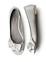 Satin Peep Toe Bridal Ballet Flats