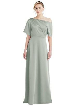70s Sequin Dresses, Disco Dresses Special Order One-Shoulder Sleeved Blouson Trumpet Gown $242.00 AT vintagedancer.com