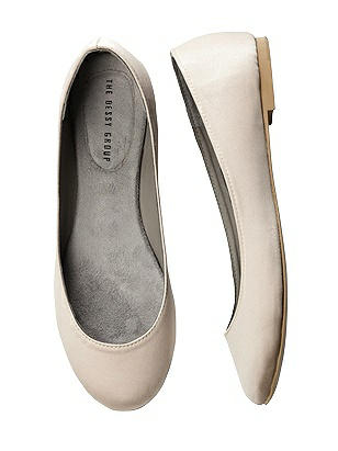 1950s Style Shoes Simple Satin Ballet Wedding Flats $33.00 AT vintagedancer.com