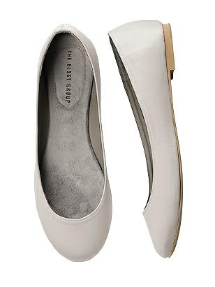 Vintage Style Shoes, Vintage Inspired Shoes Simple Satin Ballet Wedding Flats $33.00 AT vintagedancer.com