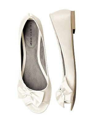 1950s Style Shoes Satin Peep Toe Bridal Ballet Wedding Flats $36.00 AT vintagedancer.com