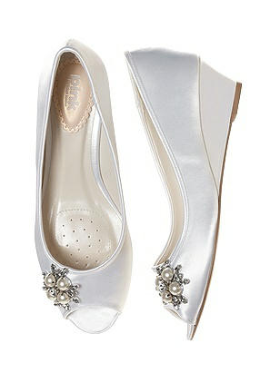 Vintage Wedding Shoes, Flats, Boots, Heels Frosting Dyeable Satin Bridal Wedge $97.00 AT vintagedancer.com