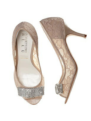 Vintage Wedding Shoes, Flats, Boots, Heels Coco Nude Lace Bridal Peep Toe Pump $138.00 AT vintagedancer.com