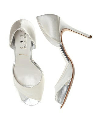 Vintage Wedding Shoes, Flats, Boots, Heels Curvey Satin and Silver Bridal Pump $138.00 AT vintagedancer.com