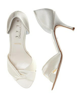 Vintage Wedding Shoes, Flats, Boots, Heels Pluto Satin Wrap Peep Toe Bridal Pump $138.00 AT vintagedancer.com