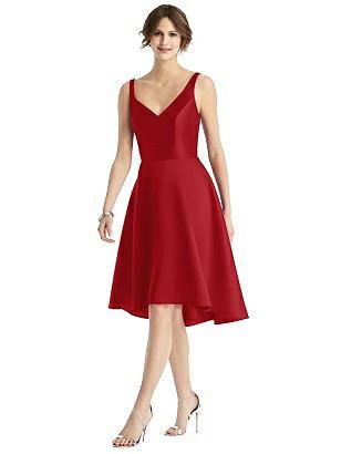 1960s Evening Dresses, Bridesmaids, Mothers Gowns Special Order V-Neck Sateen High-Low Cocktail Dress $221.00 AT vintagedancer.com