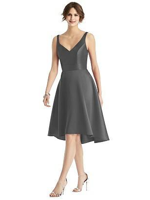 1950s Bridesmaid Dresses | 50s Bridesmaid Dresses Special Order V-Neck Sateen High-Low Cocktail Dress $221.00 AT vintagedancer.com