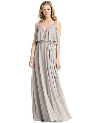 Vintage Bridesmaid Dress Ideas by Decade Special Order Shimmer V-Neck Gown with Ruffle Overlay Bodice $305.00 AT vintagedancer.com