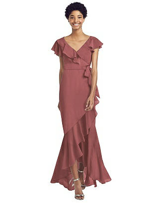 70s Prom, Formal, Evening, Party Dresses Special Order Ruffled Wrap Dress with Flutter Sleeves $248.00 AT vintagedancer.com