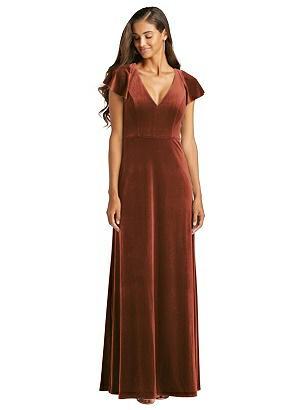 Vintage Evening Dresses, Vintage Formal Dresses Special Order Flutter Sleeve Velvet Maxi Dress with Pockets $202.00 AT vintagedancer.com