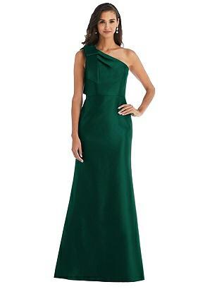 Vintage Evening Dresses, Vintage Formal Dresses Special Order Bow One-Shoulder Satin Trumpet Gown $242.00 AT vintagedancer.com