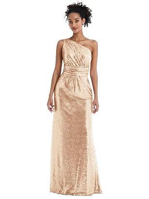 70s Sequin Dresses, Disco Dresses Special Order One-Shoulder Draped Sequin Maxi Dress $150.00 AT vintagedancer.com