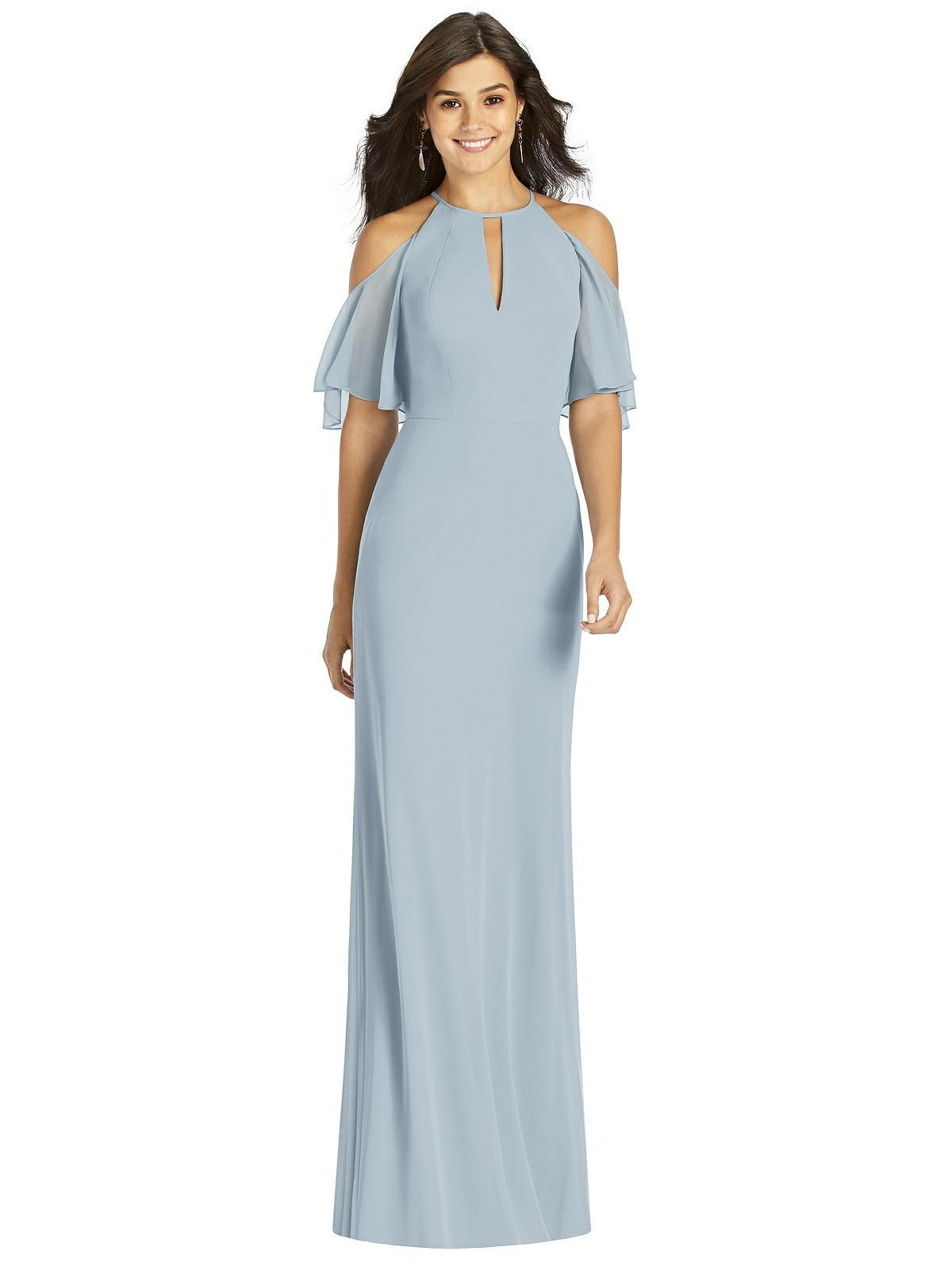 70s Sequin Dresses, Disco Dresses Special Order Ruffle Cold-Shoulder Mermaid Maxi Dress $99.00 AT vintagedancer.com